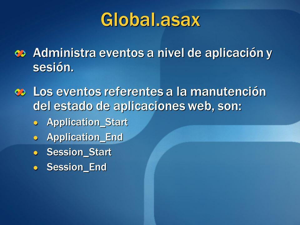 Global.asax Administra eventos a nivel de aplicación y sesión. Los eventos referentes a la manutención del estado de aplicaciones web, son: Applicatio