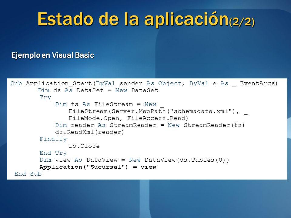 Estado de la aplicación (2/2) Ejemplo en Visual Basic Sub Application_Start(ByVal sender As Object, ByVal e As _ EventArgs) Dim ds As DataSet = New Da