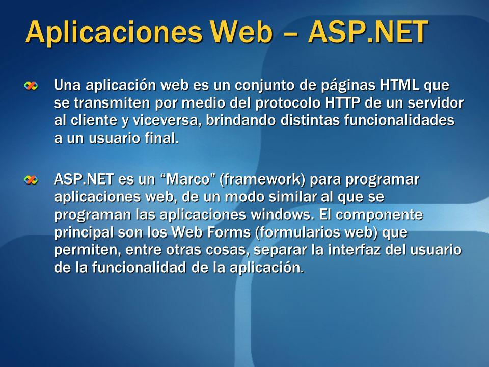 Aplicaciones Web – ASP.NET Una aplicación web es un conjunto de páginas HTML que se transmiten por medio del protocolo HTTP de un servidor al cliente