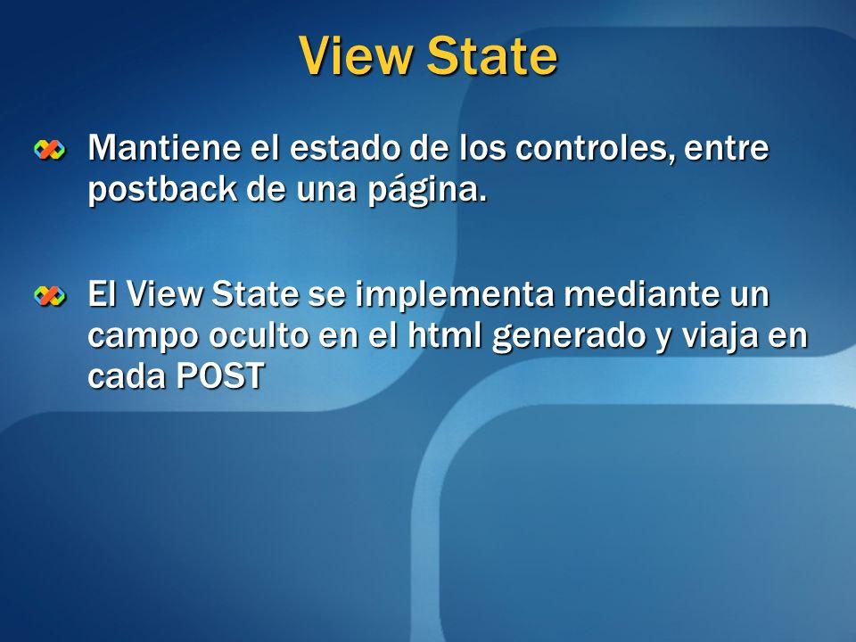 View State Mantiene el estado de los controles, entre postback de una página. El View State se implementa mediante un campo oculto en el html generado
