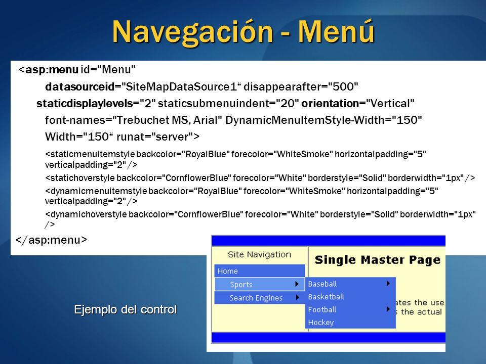 Navegación - Menú <asp:menu id=