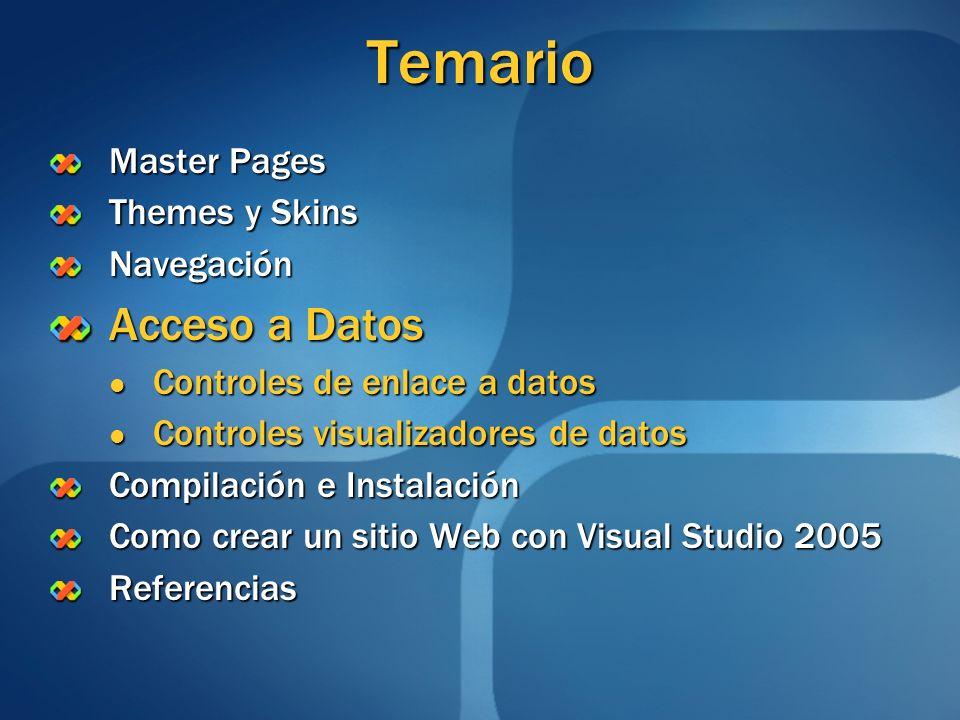 Temario Master Pages Themes y Skins Navegación Acceso a Datos Controles de enlace a datos Controles de enlace a datos Controles visualizadores de dato