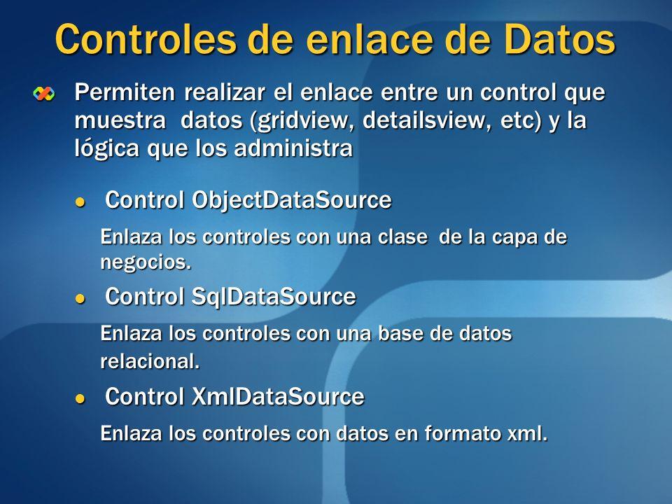 Controles de enlace de Datos Permiten realizar el enlace entre un control que muestra datos (gridview, detailsview, etc) y la lógica que los administr