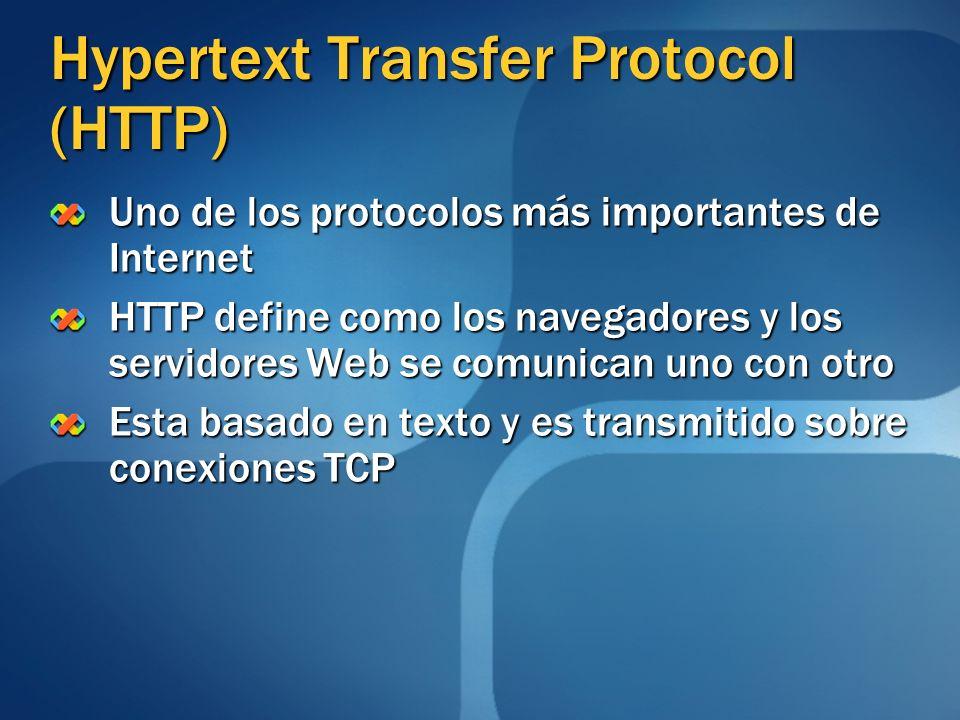 Hypertext Transfer Protocol (HTTP) Uno de los protocolos más importantes de Internet HTTP define como los navegadores y los servidores Web se comunica