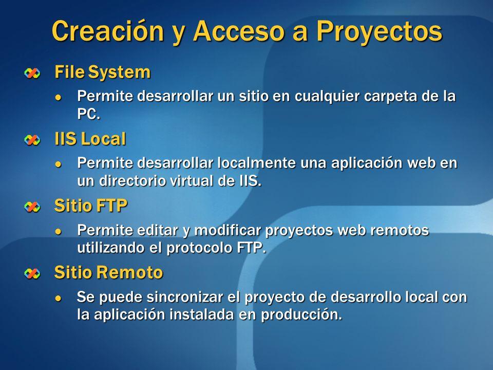Creación y Acceso a Proyectos File System Permite desarrollar un sitio en cualquier carpeta de la PC. Permite desarrollar un sitio en cualquier carpet