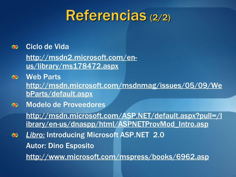 Referencias (2/2) Ciclo de Vida http://msdn2.microsoft.com/en- us/library/ms178472.aspx Web Parts http://msdn.microsoft.com/msdnmag/issues/05/09/We bP