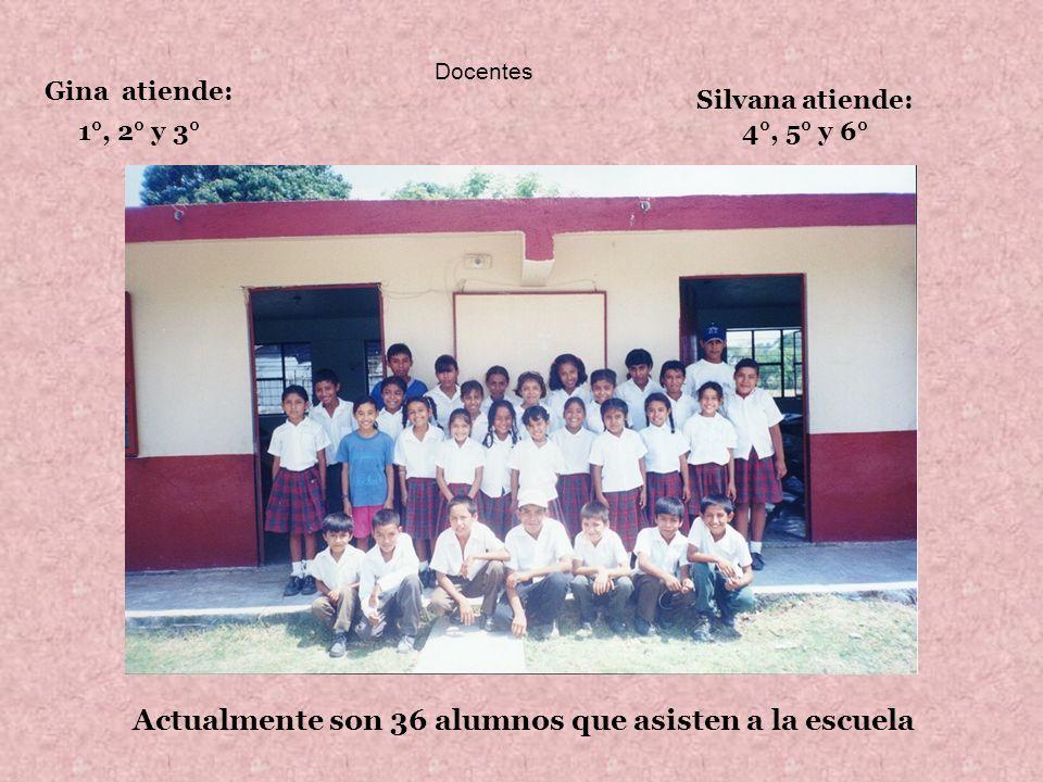 Docentes Gina atiende: 1°, 2° y 3° Silvana atiende: 4°, 5° y 6° Actualmente son 36 alumnos que asisten a la escuela