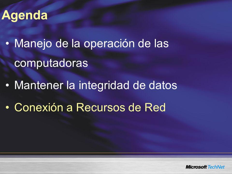 Manejo de la operación de las computadoras Mantener la integridad de datos Conexión a Recursos de Red Agenda