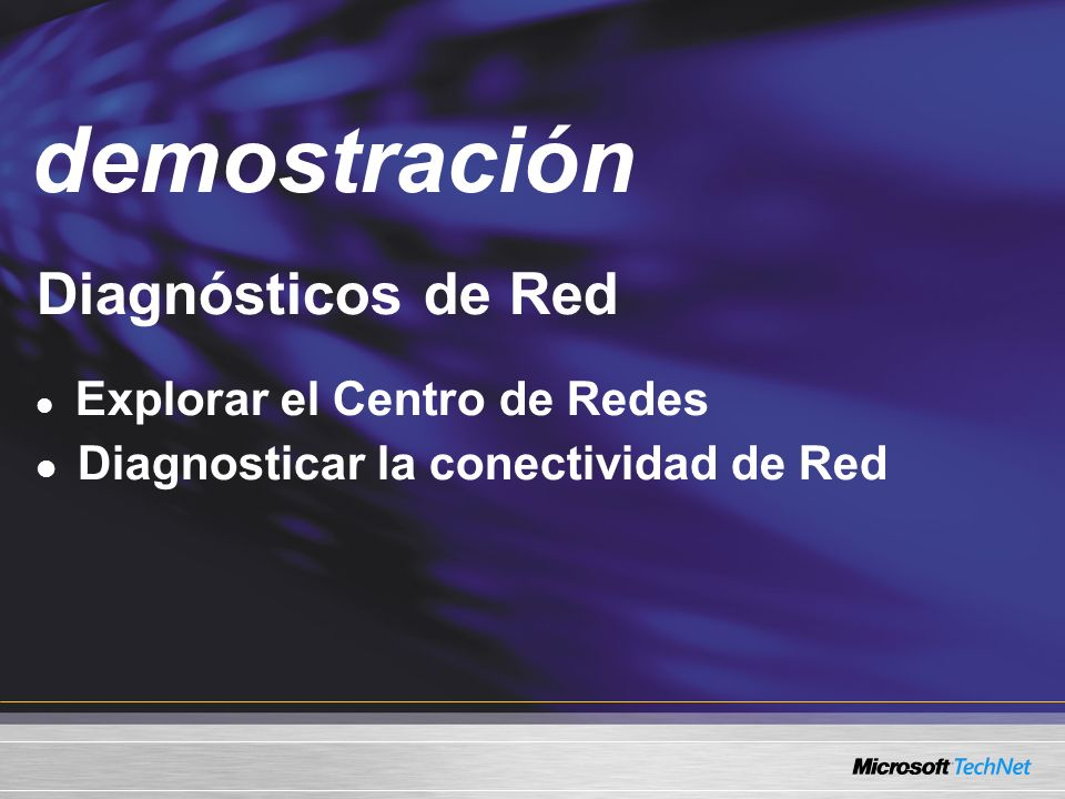 Demo Diagnósticos de Red Explorar el Centro de Redes Diagnosticar la conectividad de Red demostración