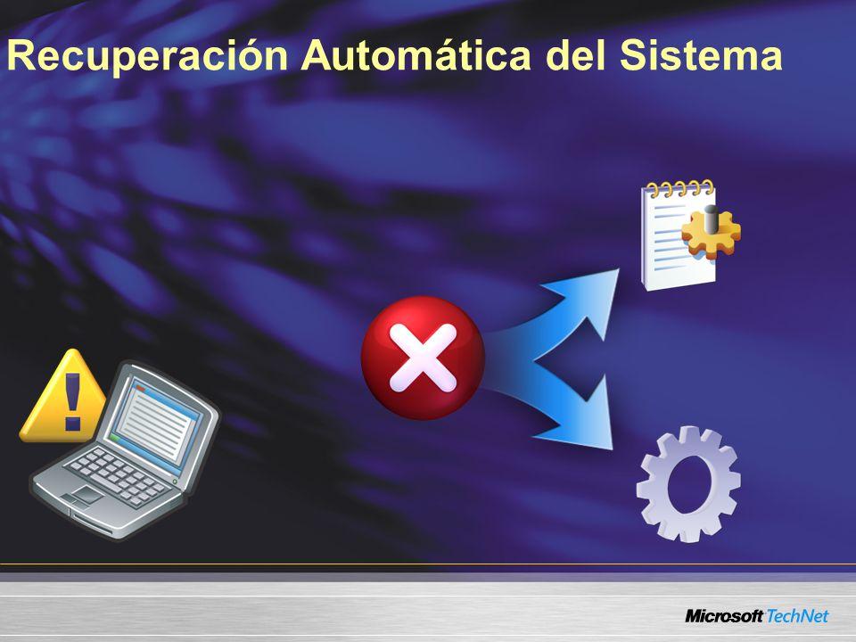 Falla detectada al iniciar Ejecutar el SRT Analizar la bitácora Determinar causa de fallo Aplicar resolución Notificar al usuario de la solución Recuperación Automática del Sistema Windows Vista Startup Repair Tool
