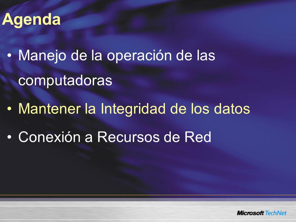 Manejo de la operación de las computadoras Mantener la Integridad de los datos Conexión a Recursos de Red Agenda
