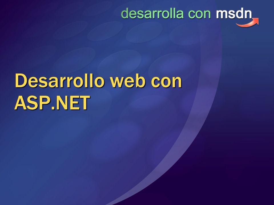 Modelo de ejecución Arquitectura con IIS 6 HTTP.SYS W3WP.exe ISAPI ASP.NET Filtros ISAPI.ASPX,.ASCX,.ASMX Aspnet_w p.exe HTTPHandlers HTTPModules
