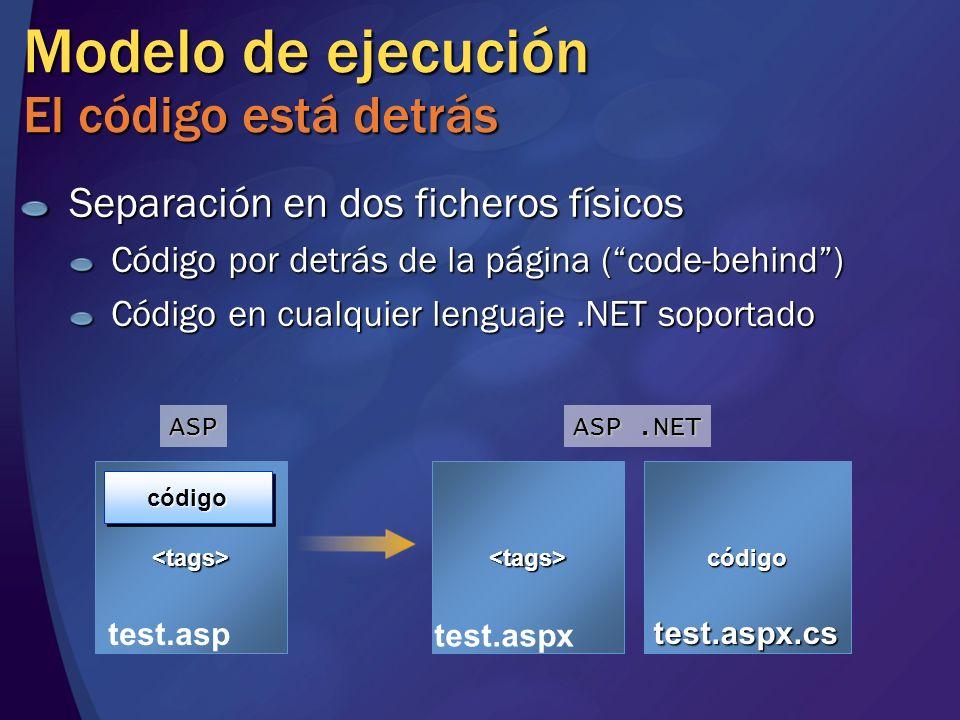 Modelo de ejecución El código está detrás Separación en dos ficheros físicos Código por detrás de la página (code-behind) Código en cualquier lenguaje