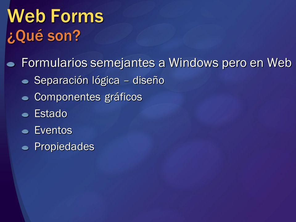 Web Forms ¿Qué son? Formularios semejantes a Windows pero en Web Separación lógica – diseño Componentes gráficos EstadoEventosPropiedades