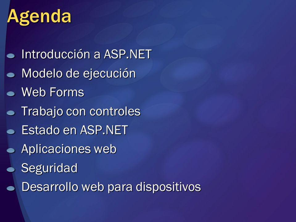 Agenda Introducción a ASP.NET Modelo de ejecución Web Forms Trabajo con controles Estado en ASP.NET Aplicaciones web Seguridad Desarrollo web para dis