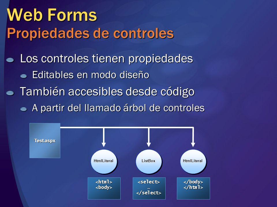 Web Forms Propiedades de controles Los controles tienen propiedades Editables en modo diseño También accesibles desde código A partir del llamado árbo