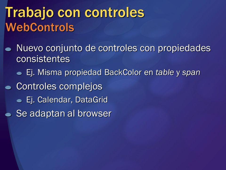Trabajo con controles WebControls Nuevo conjunto de controles con propiedades consistentes Ej. Misma propiedad BackColor en table y span Controles com