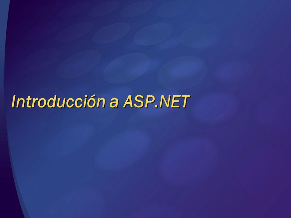 Introducción a ASP.NET Historia del desarrollo web HTML (1991) Páginas estáticas orientadas al contenido CGI (1993) Ejecutables que generan HTML dinámicamente Versión mejorada: ISAPI ASP (1996), PHP (1997), JSP (1999) Páginas HTML que incluyen código script dinámico