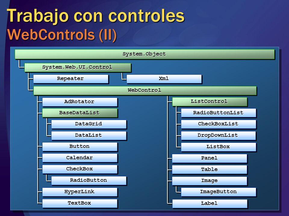 AdRotatorAdRotator Trabajo con controles WebControls (II) BaseDataListBaseDataList System.ObjectSystem.Object DataGridDataGrid DataListDataList ListCo