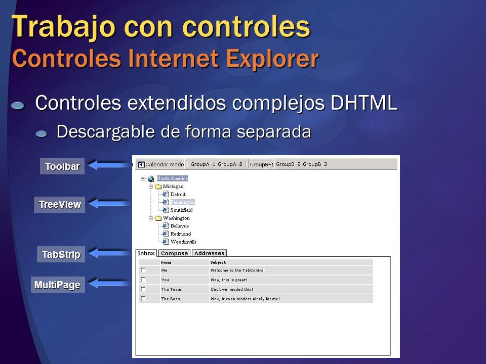 Trabajo con controles Controles Internet Explorer Controles extendidos complejos DHTML Descargable de forma separada Toolbar TreeView TabStrip MultiPa