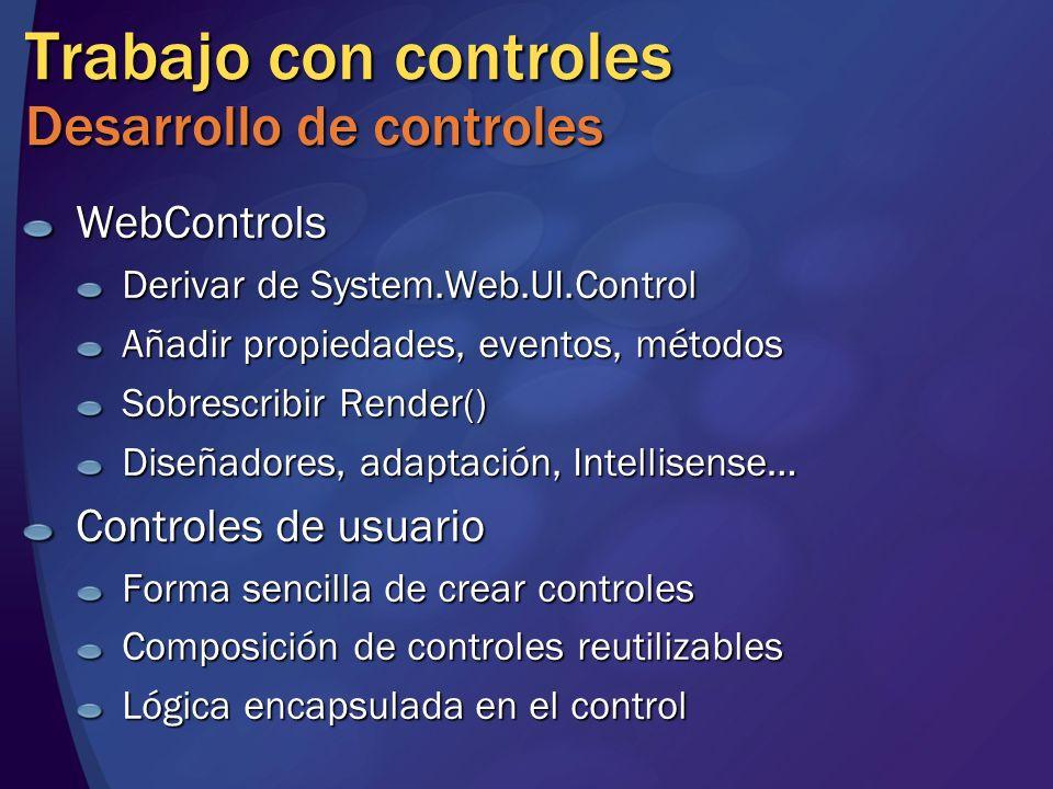 Trabajo con controles Desarrollo de controles WebControls Derivar de System.Web.UI.Control Añadir propiedades, eventos, métodos Sobrescribir Render()
