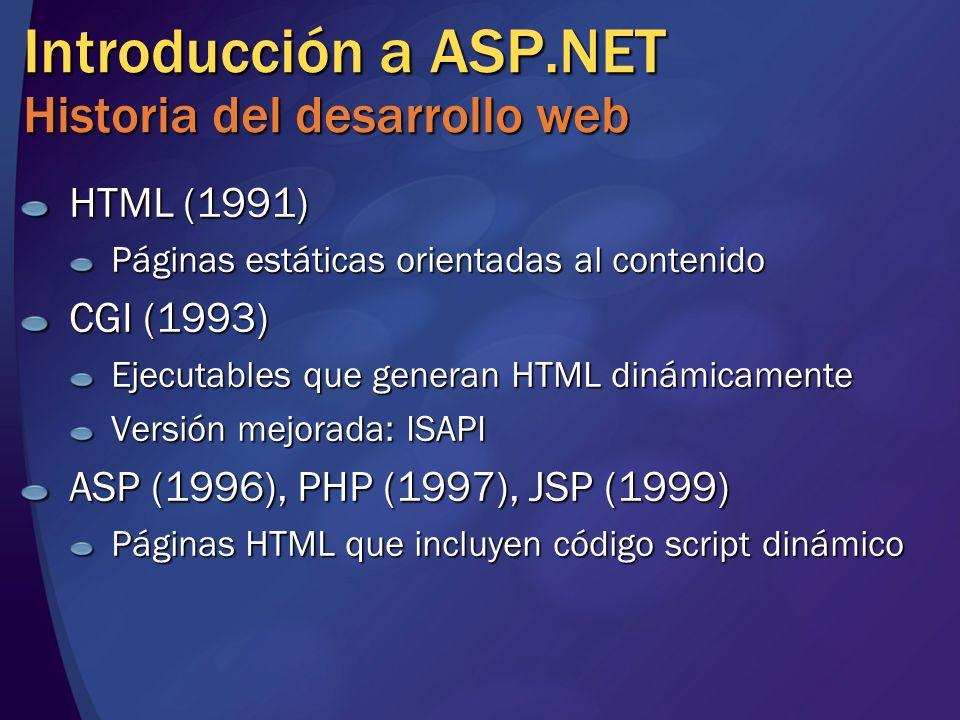 Introducción a ASP.NET Historia del desarrollo web HTML (1991) Páginas estáticas orientadas al contenido CGI (1993) Ejecutables que generan HTML dinám