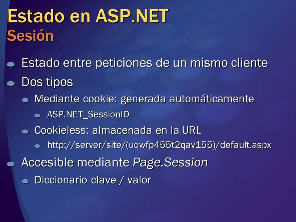 Estado en ASP.NET Sesión Estado entre peticiones de un mismo cliente Dos tipos Mediante cookie: generada automáticamente ASP.NET_SessionID Cookieless: