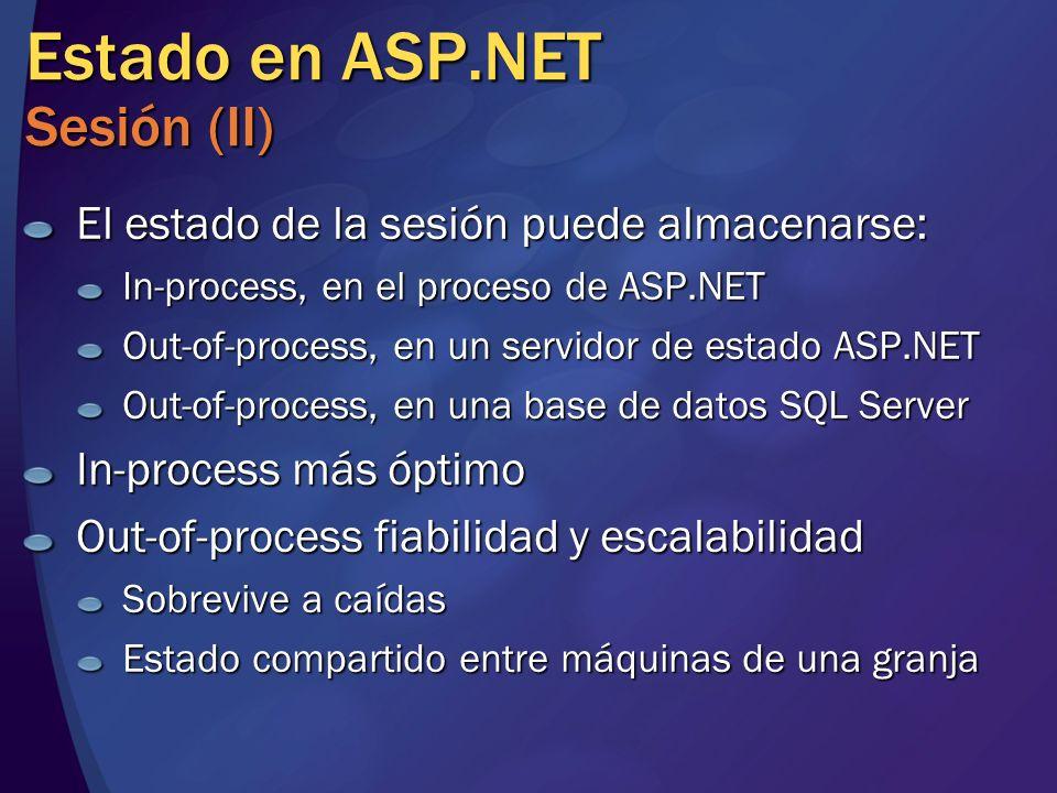 Estado en ASP.NET Sesión (II) El estado de la sesión puede almacenarse: In-process, en el proceso de ASP.NET Out-of-process, en un servidor de estado