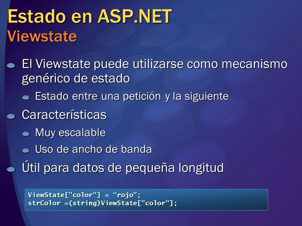 Estado en ASP.NET Viewstate El Viewstate puede utilizarse como mecanismo genérico de estado Estado entre una petición y la siguiente Características M