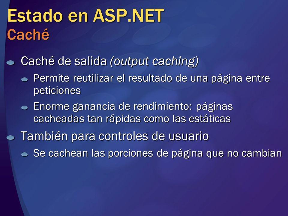 Estado en ASP.NET Caché Caché de salida (output caching) Permite reutilizar el resultado de una página entre peticiones Enorme ganancia de rendimiento