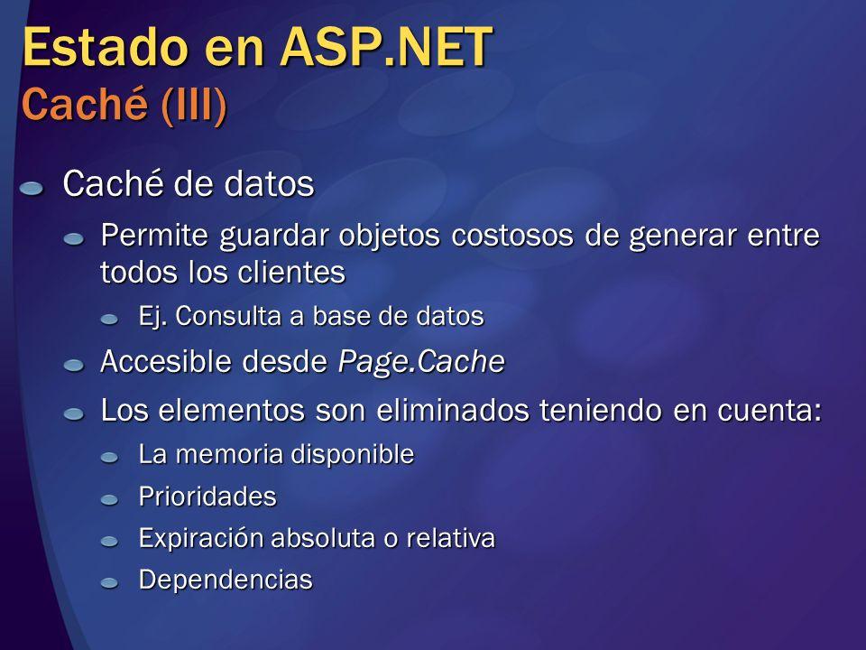 Estado en ASP.NET Caché (III) Caché de datos Permite guardar objetos costosos de generar entre todos los clientes Ej. Consulta a base de datos Accesib