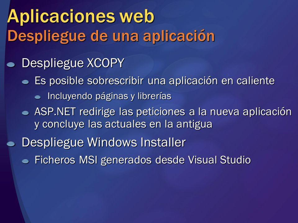 Aplicaciones web Despliegue de una aplicación Despliegue XCOPY Es posible sobrescribir una aplicación en caliente Incluyendo páginas y librerías ASP.N