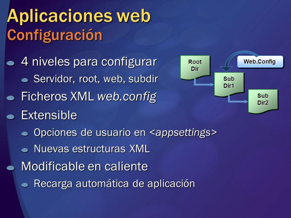 Aplicaciones web Configuración 4 niveles para configurar Servidor, root, web, subdir Ficheros XML web.config Extensible Opciones de usuario en Opcione