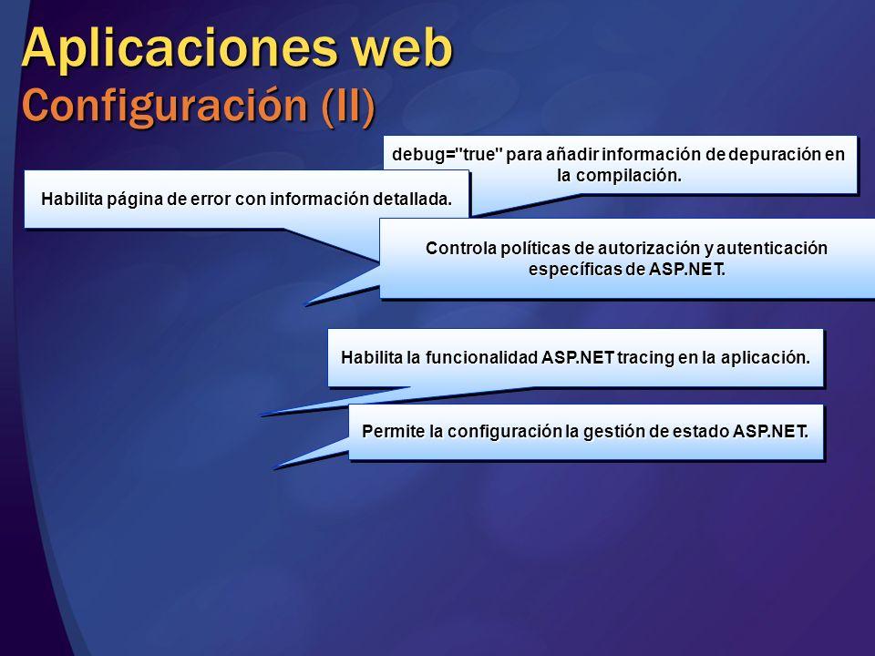 Aplicaciones web Configuración (II) debug=