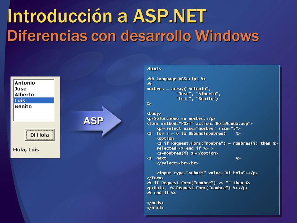 <html> <% nombres = array( Antonio , Jose , Alberto , Luis , Benito ) %><body> Seleccione su nombre: Seleccione su nombre: <option <option selected > selected > </form> then %> then %> Hola, Hola, </body></html><html> <% nombres = array( Antonio , Jose , Alberto , Luis , Benito ) %><body> Seleccione su nombre: Seleccione su nombre: <option <option selected > selected > </form> then %> then %> Hola, Hola, </body></html> Introducción a ASP.NET Diferencias con desarrollo Windows Private Sub Command1_Click() If List1.SelCount > 0 Then If List1.SelCount > 0 Then Label1.Caption = Hola, & List1.Text Label1.Caption = Hola, & List1.Text Else Else Label1.Caption = Label1.Caption = End If End If End Sub Private Sub Command1_Click() If List1.SelCount > 0 Then If List1.SelCount > 0 Then Label1.Caption = Hola, & List1.Text Label1.Caption = Hola, & List1.Text Else Else Label1.Caption = Label1.Caption = End If End If End Sub Diseño Lógica Eventos Propiedades Sin estado Estado Composición HTML Paso de parámetros Petición Respuesta