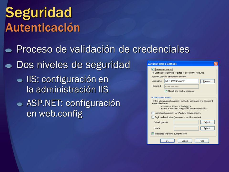Seguridad Autenticación Proceso de validación de credenciales Dos niveles de seguridad IIS: configuración en la administración IIS ASP.NET: configurac