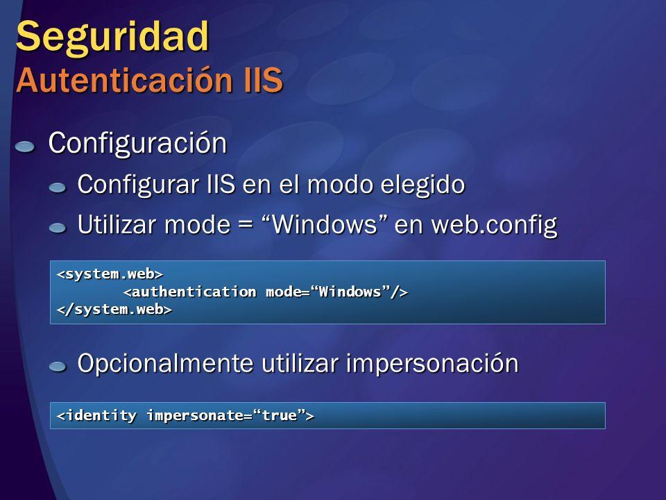 Seguridad Autenticación IIS Configuración Configurar IIS en el modo elegido Utilizar mode = Windows en web.config <system.web> </system.web> Opcionalm