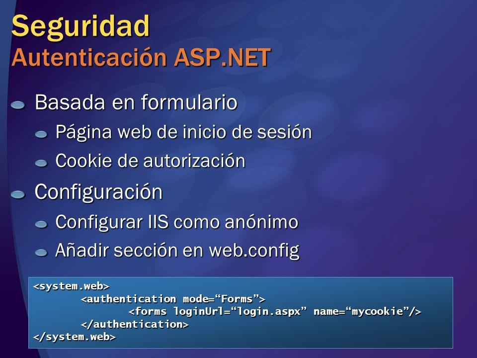 Seguridad Autenticación ASP.NET Basada en formulario Página web de inicio de sesión Cookie de autorización Configuración Configurar IIS como anónimo A