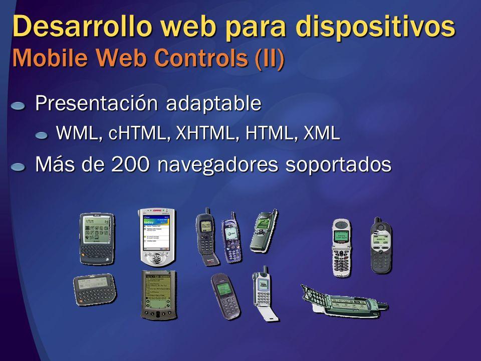 Desarrollo web para dispositivos Mobile Web Controls (II) Presentación adaptable WML, cHTML, XHTML, HTML, XML Más de 200 navegadores soportados