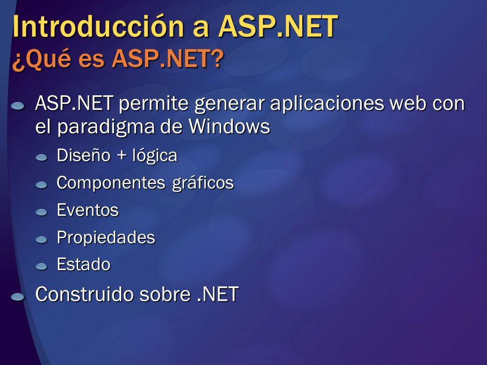 Introducción a ASP.NET ¿Qué es ASP.NET? ASP.NET permite generar aplicaciones web con el paradigma de Windows Diseño + lógica Componentes gráficos Even