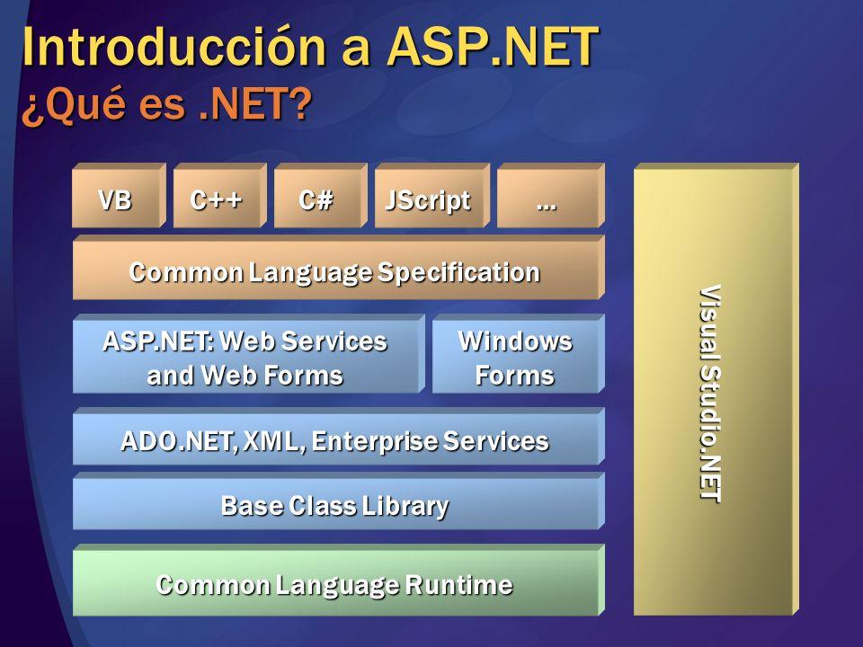 Web Forms Controles de servidor Componentes que encapsulan la generación de HTML Semejantes a los controles de Windows Pleno soporte desde Visual Studio Paleta de componentes Layout Diseñadores de propiedades Asistentes