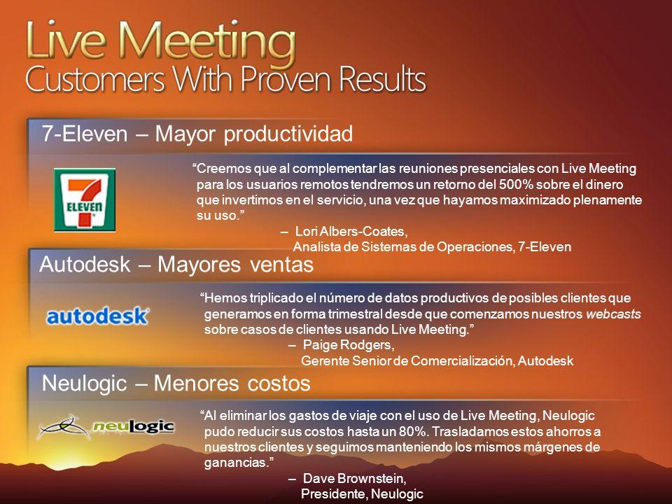 Autodesk – Mayores ventas Hemos triplicado el número de datos productivos de posibles clientes que generamos en forma trimestral desde que comenzamos nuestros webcasts sobre casos de clientes usando Live Meeting.