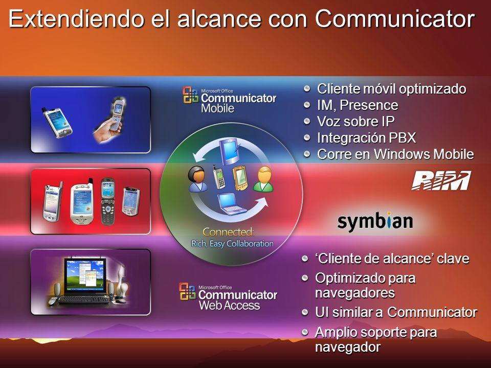 Cliente móvil optimizado IM, Presence Voz sobre IP Integración PBX Corre en Windows Mobile Extendiendo el alcance con Communicator Cliente de alcance clave Optimizado para navegadores UI similar a Communicator Amplio soporte para navegador