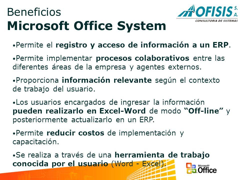 Beneficios Microsoft Office System Permite el registro y acceso de información a un ERP. Permite implementar procesos colaborativos entre las diferent