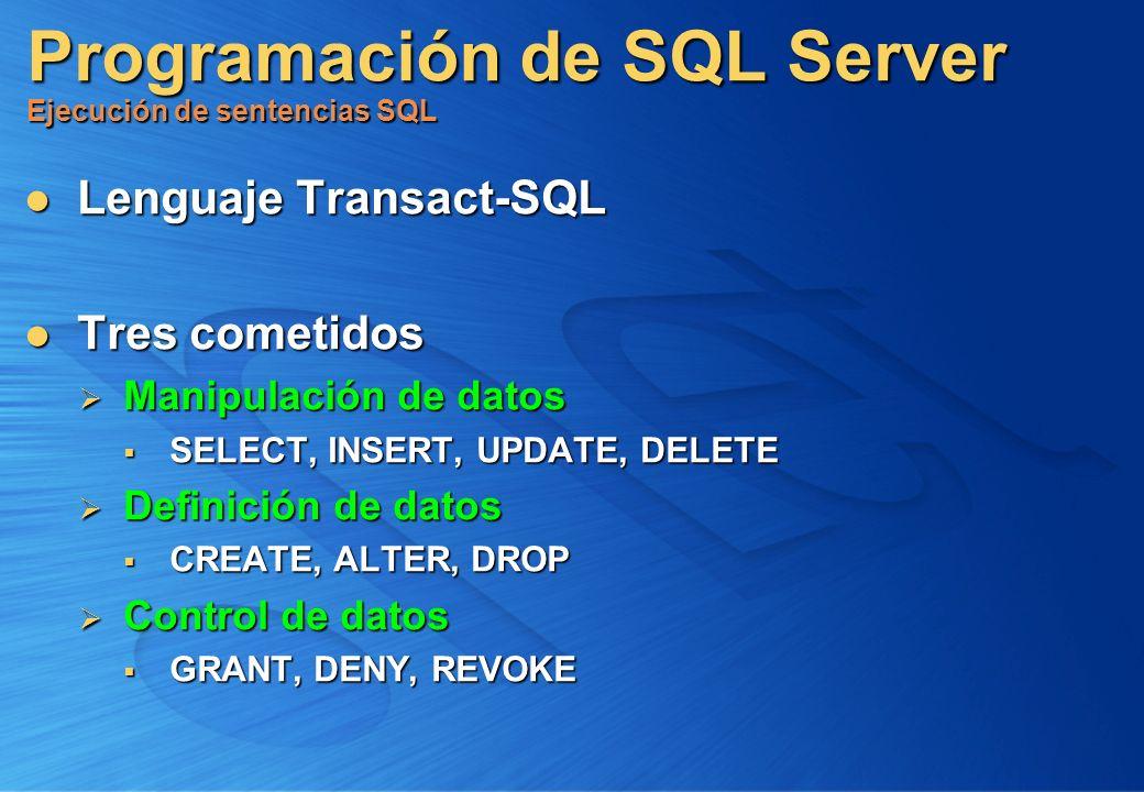 Programación de SQL Server Ejecución de sentencias SQL Lenguaje Transact-SQL Lenguaje Transact-SQL Tres cometidos Tres cometidos Manipulación de datos