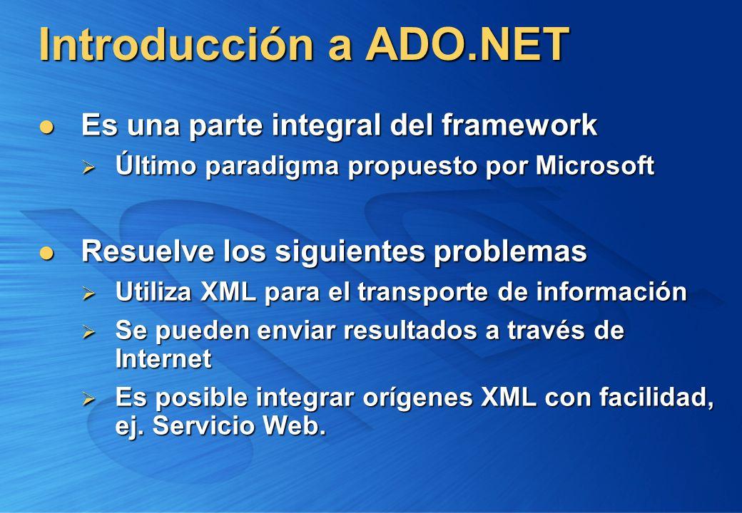 Introducción a ADO.NET Es una parte integral del framework Es una parte integral del framework Último paradigma propuesto por Microsoft Último paradig