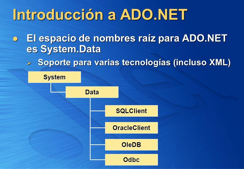 Introducción a ADO.NET El espacio de nombres raíz para ADO.NET es System.Data El espacio de nombres raíz para ADO.NET es System.Data Soporte para vari
