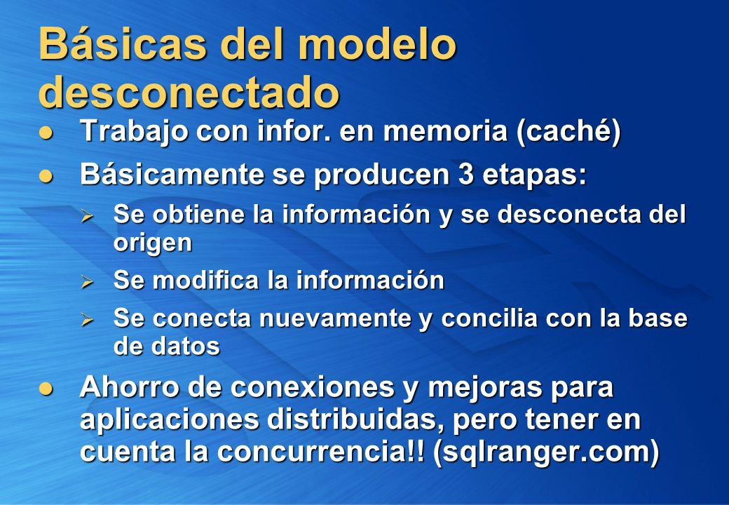Básicas del modelo desconectado Trabajo con infor. en memoria (caché) Trabajo con infor. en memoria (caché) Básicamente se producen 3 etapas: Básicame