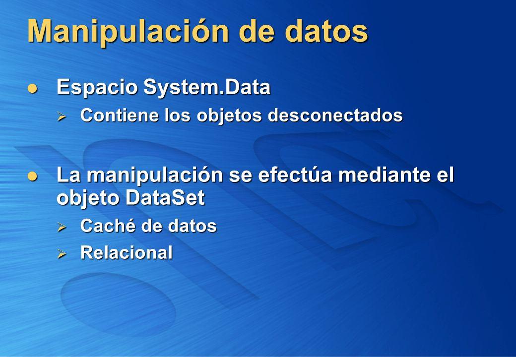 Manipulación de datos Espacio System.Data Espacio System.Data Contiene los objetos desconectados Contiene los objetos desconectados La manipulación se