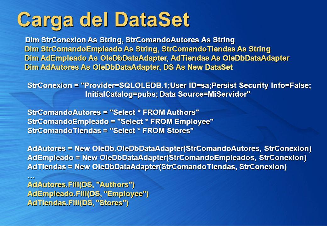 Carga del DataSet Dim StrConexion As String, StrComandoAutores As String Dim StrComandoEmpleado As String, StrComandoTiendas As String Dim StrConexion